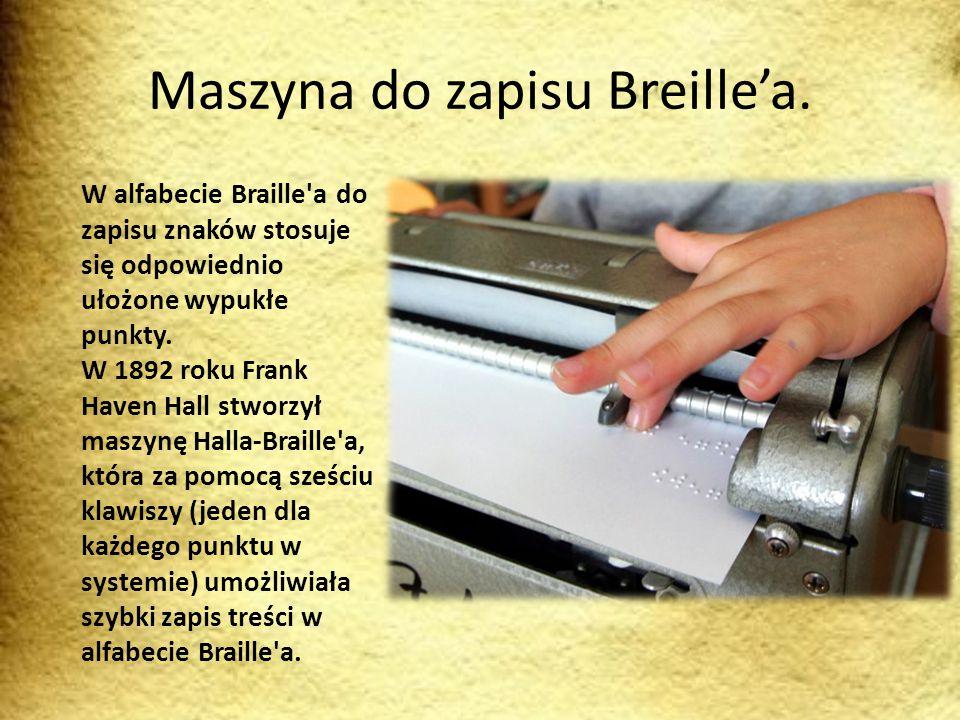 Maszyna do zapisu Breille'a. W alfabecie Braille'a do zapisu znaków stosuje się odpowiednio ułożone wypukłe punkty. W 1892 roku Frank Haven Hall stwor