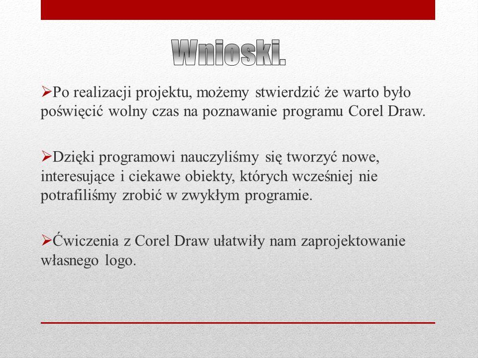  Po realizacji projektu, możemy stwierdzić że warto było poświęcić wolny czas na poznawanie programu Corel Draw.