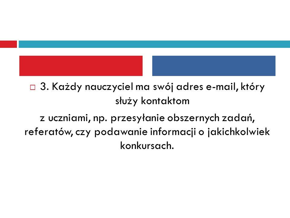  3. Każdy nauczyciel ma swój adres e-mail, który służy kontaktom z uczniami, np. przesyłanie obszernych zadań, referatów, czy podawanie informacji o