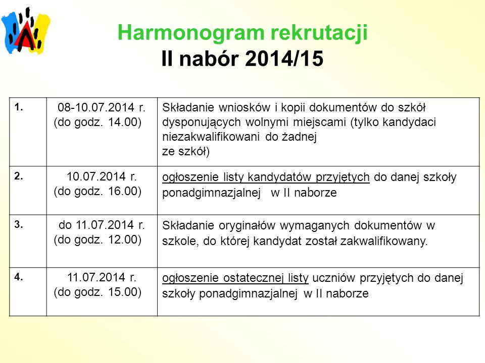 Harmonogram rekrutacji II nabór 2014/15 1. 08-10.07.2014 r. (do godz. 14.00) Składanie wniosków i kopii dokumentów do szkół dysponujących wolnymi miej