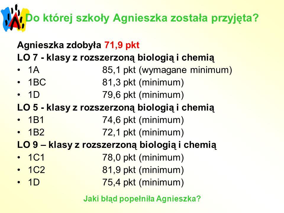Do której szkoły Agnieszka została przyjęta? Agnieszka zdobyła 71,9 pkt LO 7 - klasy z rozszerzoną biologią i chemią 1A 85,1 pkt (wymagane minimum) 1B