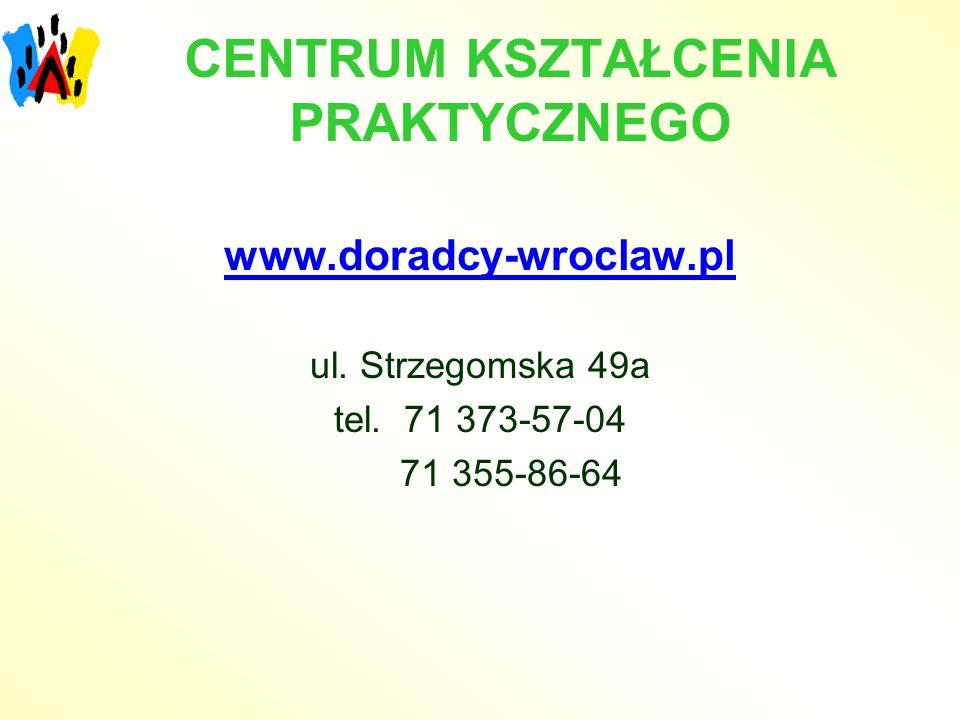 CENTRUM KSZTAŁCENIA PRAKTYCZNEGO www.doradcy-wroclaw.pl ul. Strzegomska 49a tel. 71 373-57-04 71 355-86-64