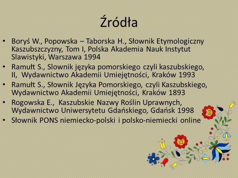 Źródła Boryś W., Popowska – Taborska H., Słownik Etymologiczny Kaszubszczyzny, Tom I, Polska Akademia Nauk Instytut Slawistyki, Warszawa 1994 Ramułt S