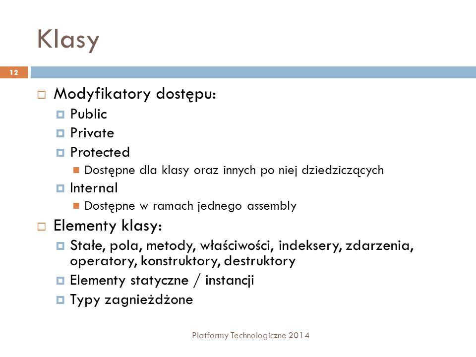 Klasy Platformy Technologiczne 2014 12  Modyfikatory dostępu:  Public  Private  Protected Dostępne dla klasy oraz innych po niej dziedziczących 