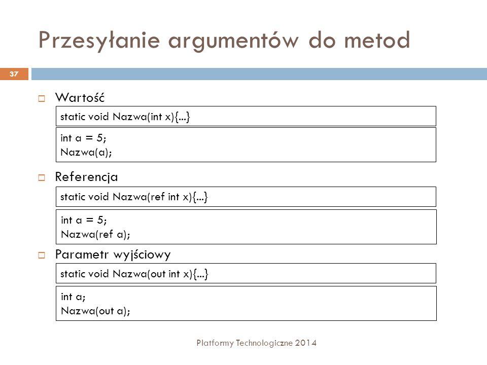 Przesyłanie argumentów do metod Platformy Technologiczne 2014 37  Wartość  Referencja  Parametr wyjściowy static void Nazwa(int x){...} int a = 5;