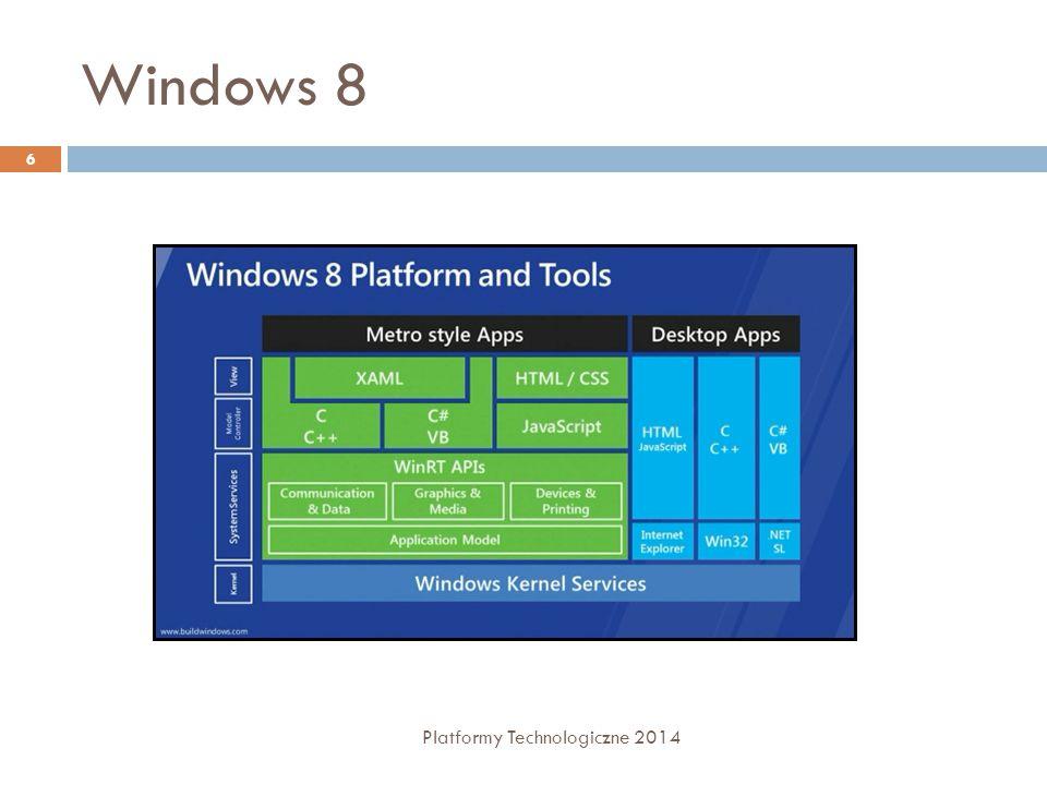Czym jest C#  Stworzony specjalnie dla.NET  Zbliżony składniowo do C++ i Javy  Posiada IDE (Visual Studio)  Obiektowy, obsługuje zdarzenia (event-driven)  Może współpracować z komponentami stworzonymi w innych językach  Język zarządzany (obsługiwany przez garbage collector) 7 Platformy Technologiczne 2014