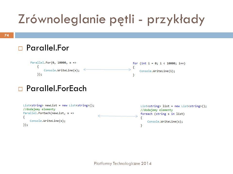 Zrównoleglanie pętli - przykłady Platformy Technologiczne 2014 74  Parallel.For  Parallel.ForEach