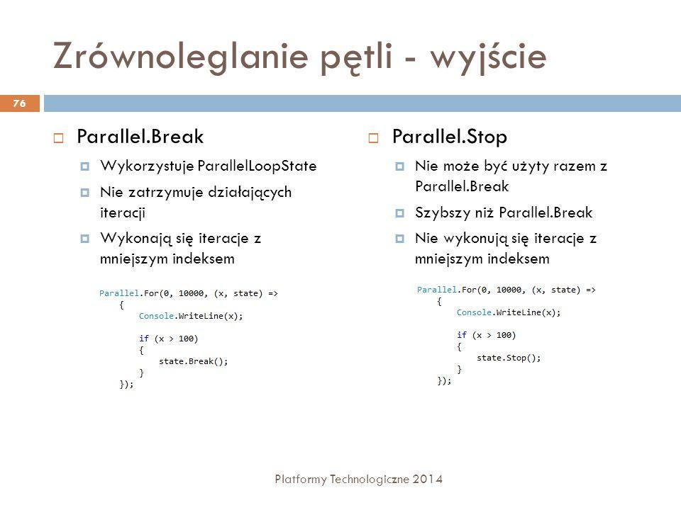Zrównoleglanie pętli - wyjście  Parallel.Break  Wykorzystuje ParallelLoopState  Nie zatrzymuje działających iteracji  Wykonają się iteracje z mnie