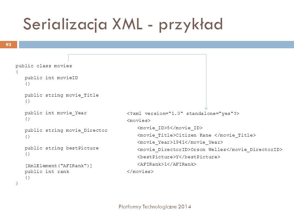 Serializacja XML - przykład Platformy Technologiczne 2014 93 public class movies { public int movieID {} public string movie_Title {} public int movie
