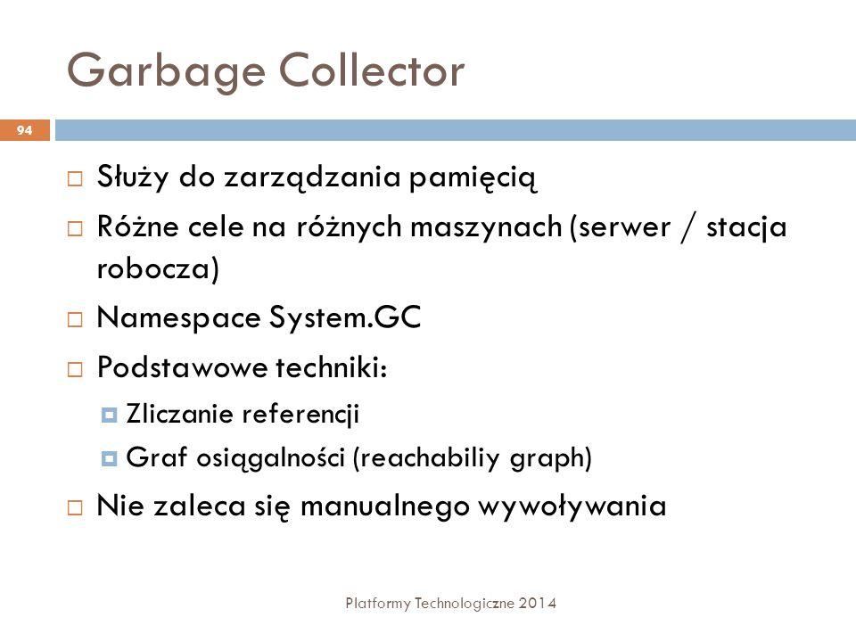 Garbage Collector Platformy Technologiczne 2014 94  Służy do zarządzania pamięcią  Różne cele na różnych maszynach (serwer / stacja robocza)  Names