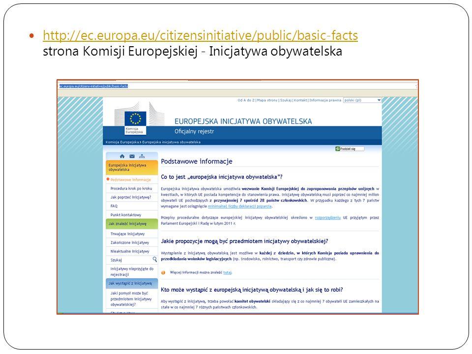 http://ec.europa.eu/citizensinitiative/public/basic-facts strona Komisji Europejskiej - Inicjatywa obywatelska http://ec.europa.eu/citizensinitiative/