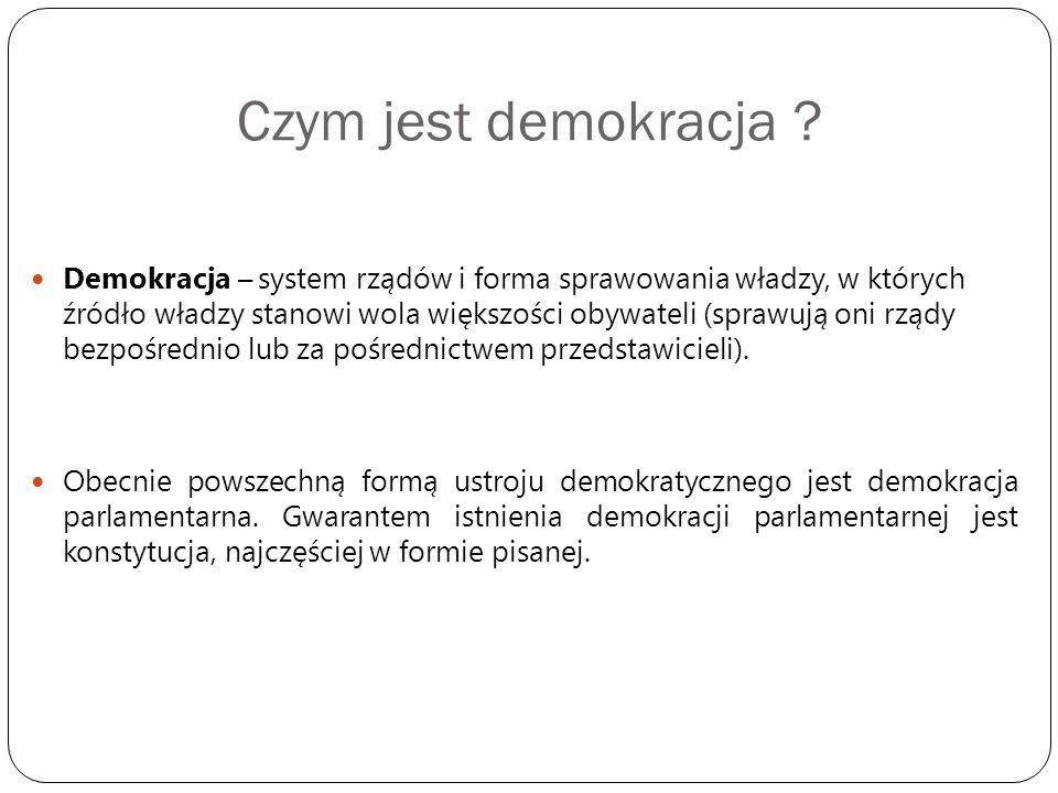 Czym jest demokracja ? Demokracja – system rządów i forma sprawowania władzy, w których źródło władzy stanowi wola większości obywateli (sprawują oni
