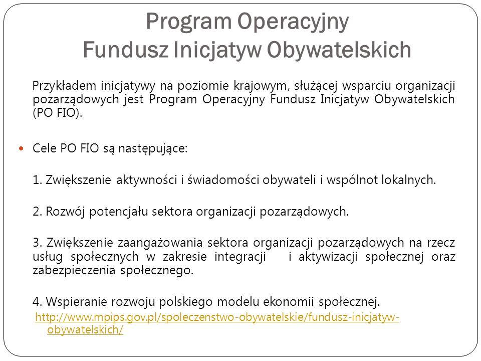 Program Operacyjny Fundusz Inicjatyw Obywatelskich Przykładem inicjatywy na poziomie krajowym, służącej wsparciu organizacji pozarządowych jest Progra