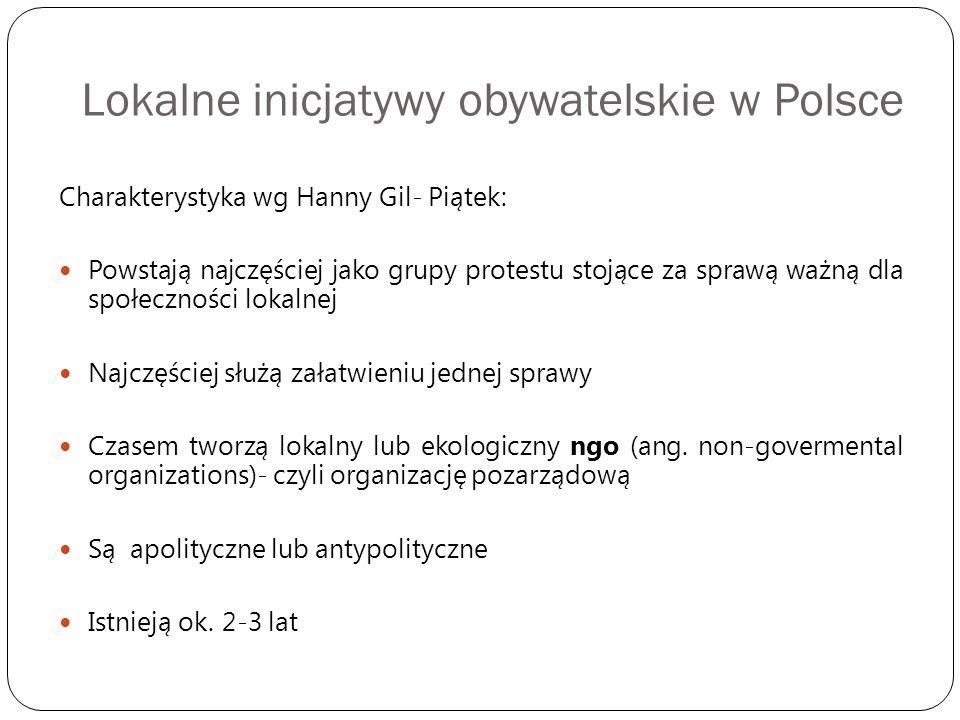 Lokalne inicjatywy obywatelskie w Polsce Charakterystyka wg Hanny Gil- Piątek: Powstają najczęściej jako grupy protestu stojące za sprawą ważną dla sp