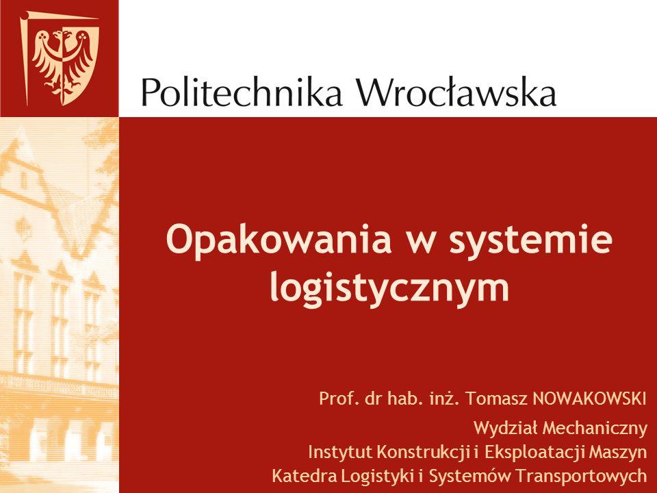 Opakowania w systemie logistycznym Prof. dr hab. inż. Tomasz NOWAKOWSKI Wydział Mechaniczny Instytut Konstrukcji i Eksploatacji Maszyn Katedra Logisty
