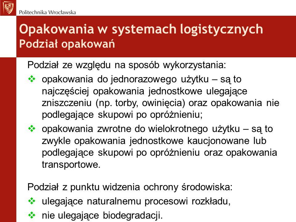 Opakowania w systemach logistycznych Podział opakowań Podział ze względu na sposób wykorzystania:  opakowania do jednorazowego użytku – są to najczęś