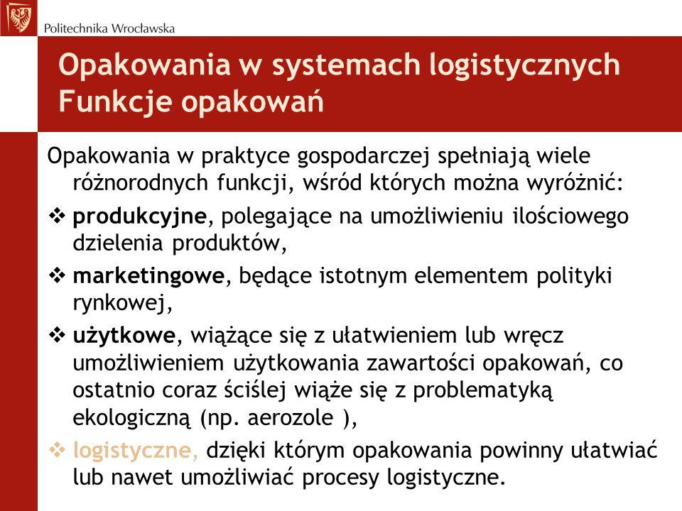Opakowania w systemach logistycznych Funkcje opakowań Opakowania w praktyce gospodarczej spełniają wiele różnorodnych funkcji, wśród których można wyr