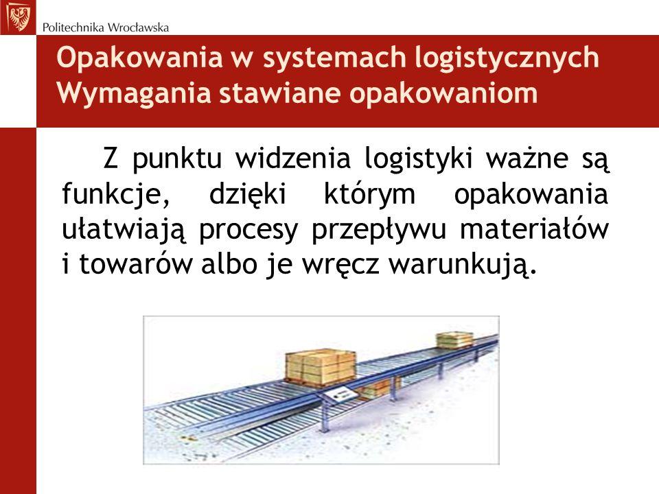 Opakowania w systemach logistycznych Wymagania stawiane opakowaniom Z punktu widzenia logistyki ważne są funkcje, dzięki którym opakowania ułatwiają p