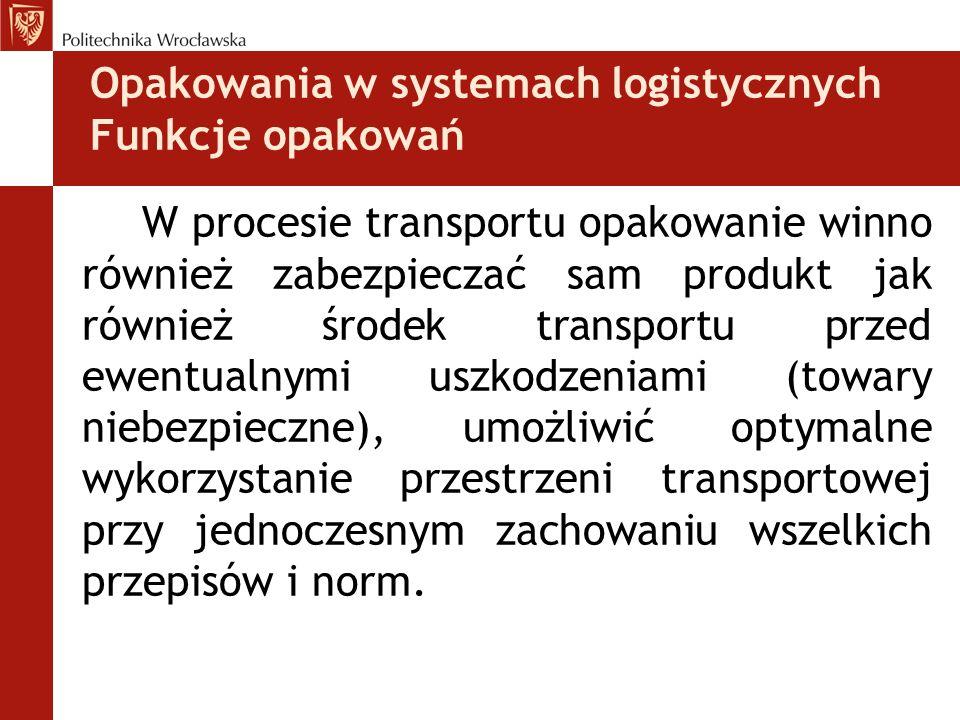 Opakowania w systemach logistycznych Funkcje opakowań W procesie transportu opakowanie winno również zabezpieczać sam produkt jak również środek trans
