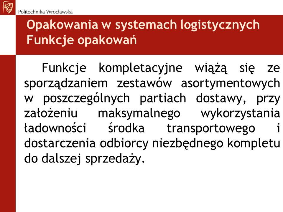 Opakowania w systemach logistycznych Funkcje opakowań Funkcje kompletacyjne wiążą się ze sporządzaniem zestawów asortymentowych w poszczególnych parti
