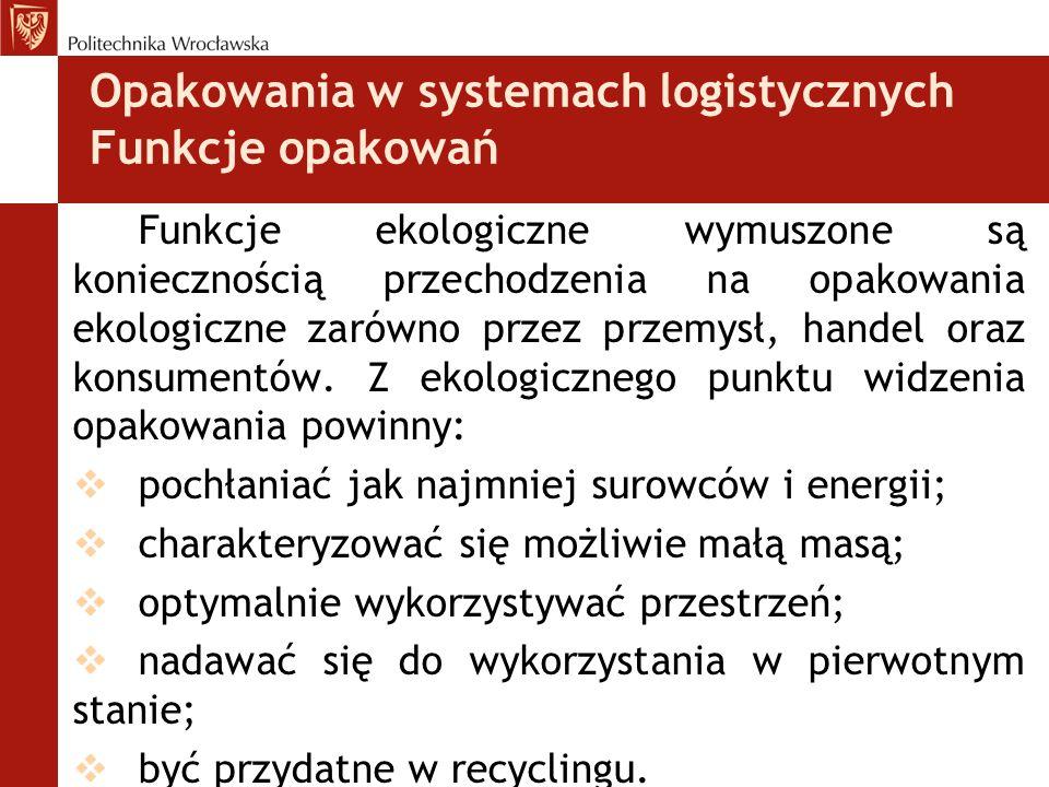 Opakowania w systemach logistycznych Funkcje opakowań Funkcje ekologiczne wymuszone są koniecznością przechodzenia na opakowania ekologiczne zarówno p