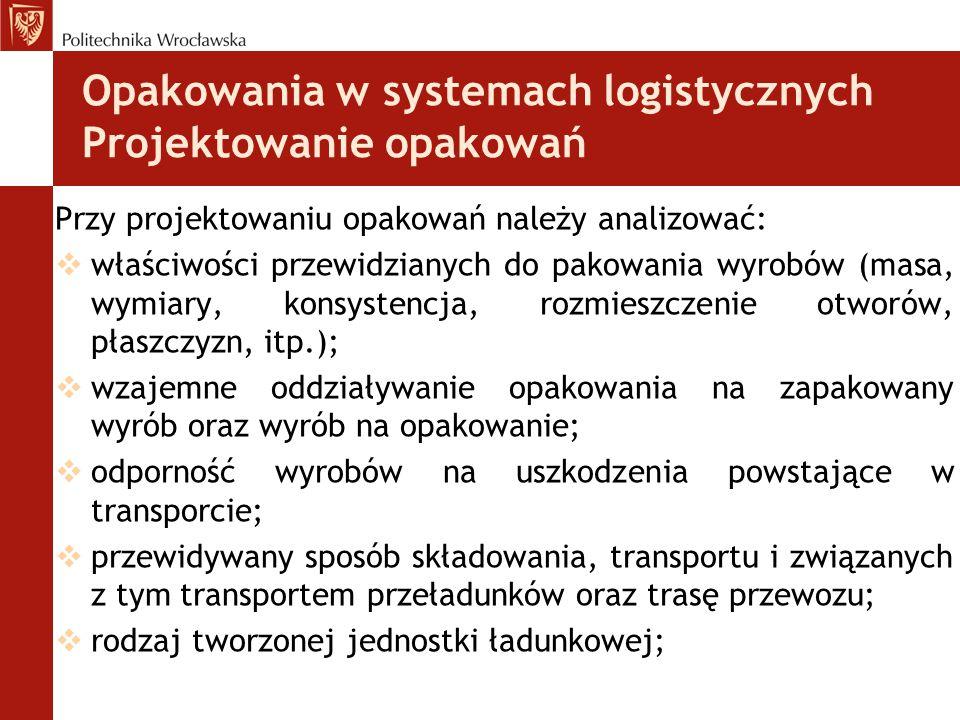 Opakowania w systemach logistycznych Projektowanie opakowań Przy projektowaniu opakowań należy analizować:  właściwości przewidzianych do pakowania w