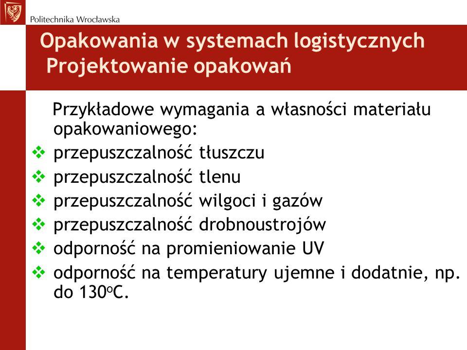 Opakowania w systemach logistycznych Projektowanie opakowań Przykładowe wymagania a własności materiału opakowaniowego:  przepuszczalność tłuszczu 