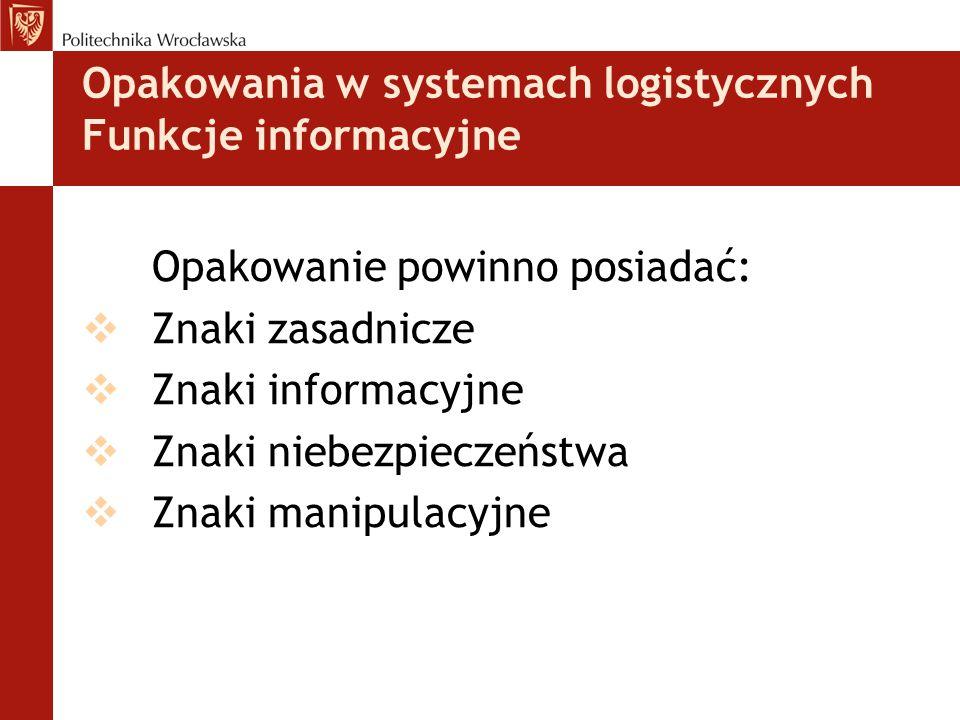 Opakowania w systemach logistycznych Funkcje informacyjne Opakowanie powinno posiadać:  Znaki zasadnicze  Znaki informacyjne  Znaki niebezpieczeńst