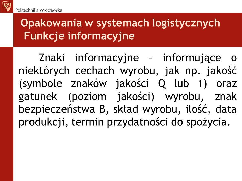 Opakowania w systemach logistycznych Funkcje informacyjne Znaki informacyjne – informujące o niektórych cechach wyrobu, jak np. jakość (symbole znaków