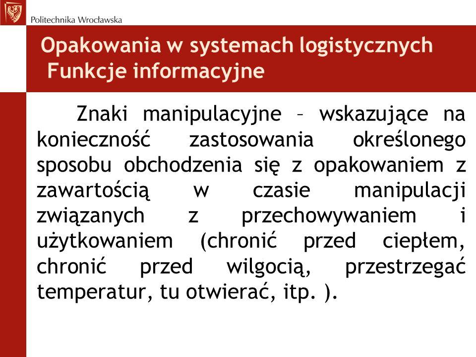 Opakowania w systemach logistycznych Funkcje informacyjne Znaki manipulacyjne – wskazujące na konieczność zastosowania określonego sposobu obchodzenia