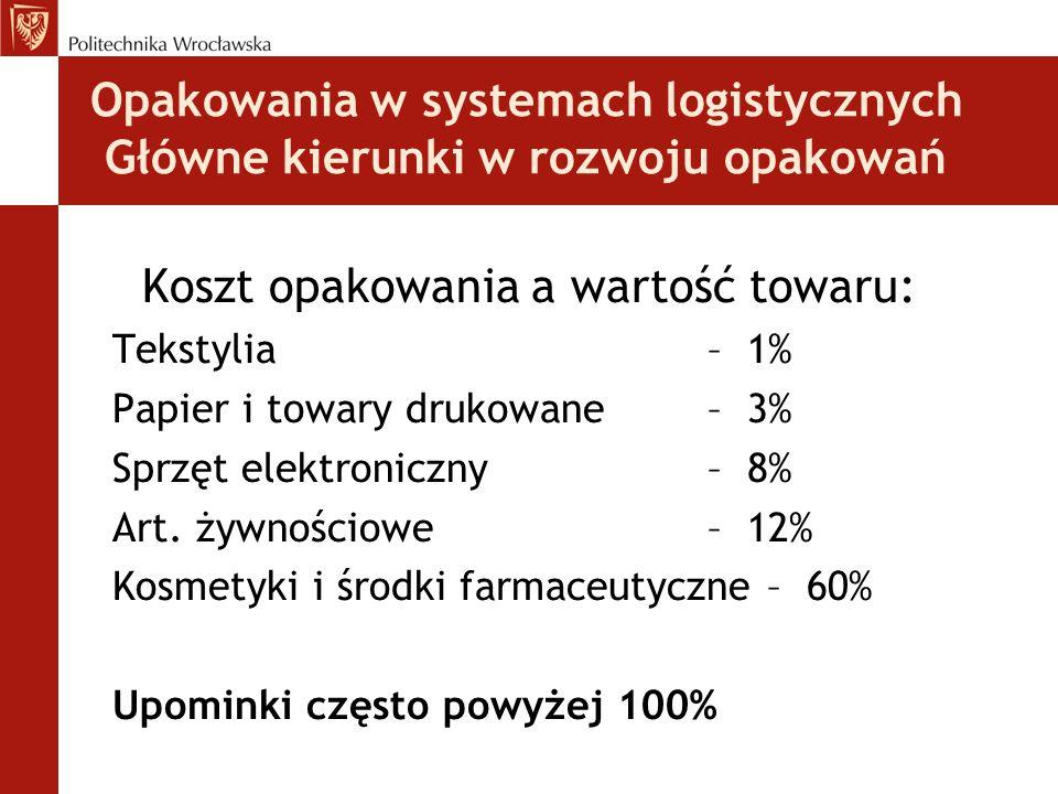 Opakowania w systemach logistycznych Główne kierunki w rozwoju opakowań Koszt opakowania a wartość towaru: Tekstylia – 1% Papier i towary drukowane –