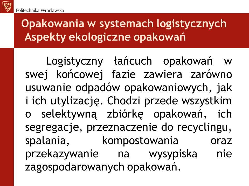 Opakowania w systemach logistycznych Aspekty ekologiczne opakowań Logistyczny łańcuch opakowań w swej końcowej fazie zawiera zarówno usuwanie odpadów