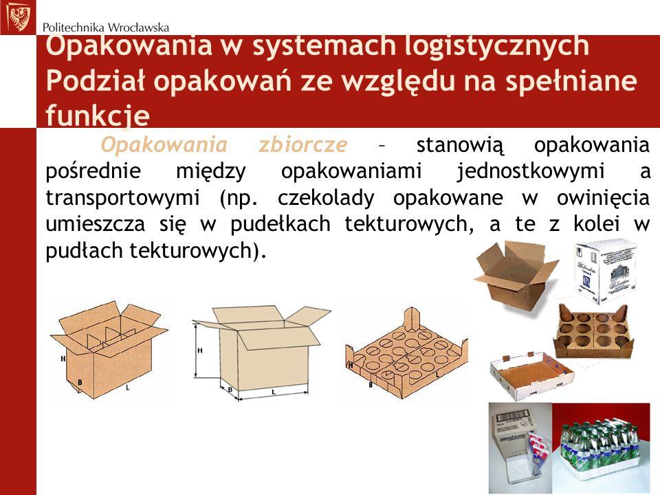Opakowania w systemach logistycznych Funkcje informacyjne Opakowanie powinno posiadać:  Znaki zasadnicze  Znaki informacyjne  Znaki niebezpieczeństwa  Znaki manipulacyjne