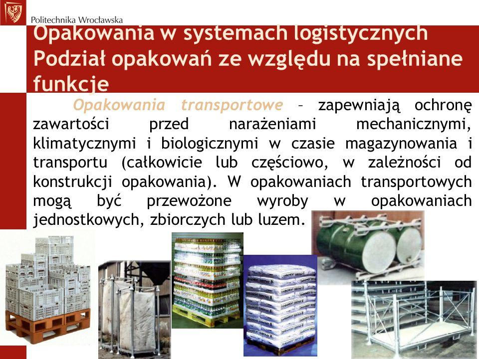 Opakowania w systemach logistycznych Funkcje informacyjne Znaki zasadnicze – umożliwiają identyfikację wyrobu i wytwórcy (nazwa handlowa, użytkowa lub chemiczna wyrobu, zastosowanie wyrobu, pełna lub skrócona nazwa zakładu wytwórcy, ewentualnie znak firmowy).