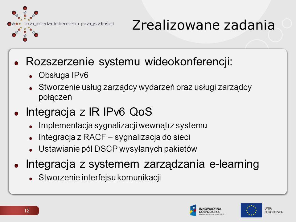 Rozszerzenie systemu wideokonferencji: Obsługa IPv6 Stworzenie usług zarządcy wydarzeń oraz usługi zarządcy połączeń Integracja z IR IPv6 QoS Implemen