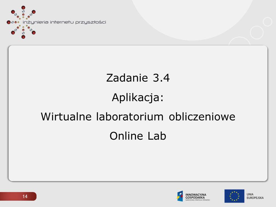 14 Zadanie 3.4 Aplikacja: Wirtualne laboratorium obliczeniowe Online Lab