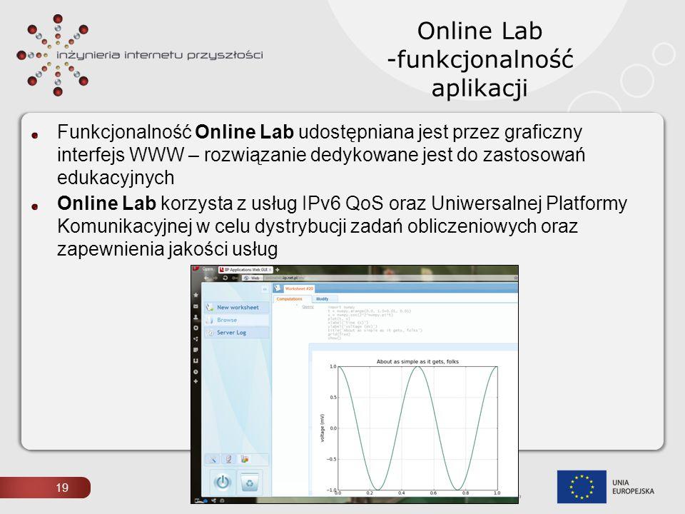 19 Online Lab -funkcjonalność aplikacji Funkcjonalność Online Lab udostępniana jest przez graficzny interfejs WWW – rozwiązanie dedykowane jest do zas