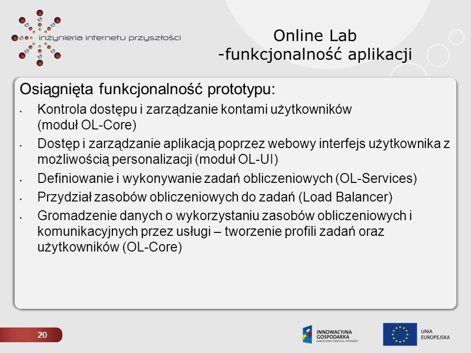 20 Online Lab -funkcjonalność aplikacji Osiągnięta funkcjonalność prototypu: Kontrola dostępu i zarządzanie kontami użytkowników (moduł OL-Core) Dostę