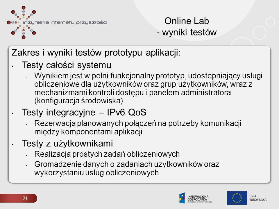 21 Online Lab - wyniki testów Zakres i wyniki testów prototypu aplikacji: Testy całości systemu Wynikiem jest w pełni funkcjonalny prototyp, udostepni