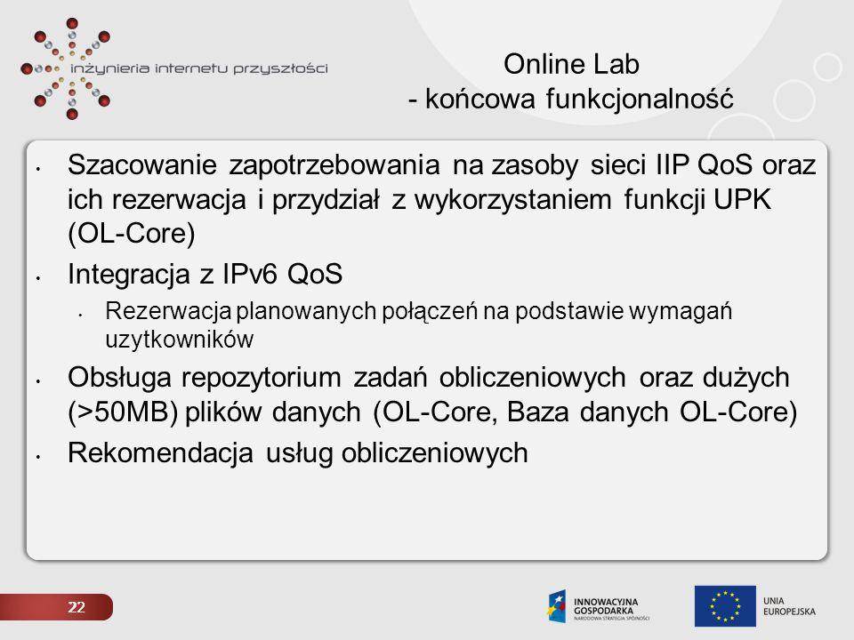 22 Online Lab - końcowa funkcjonalność Szacowanie zapotrzebowania na zasoby sieci IIP QoS oraz ich rezerwacja i przydział z wykorzystaniem funkcji UPK