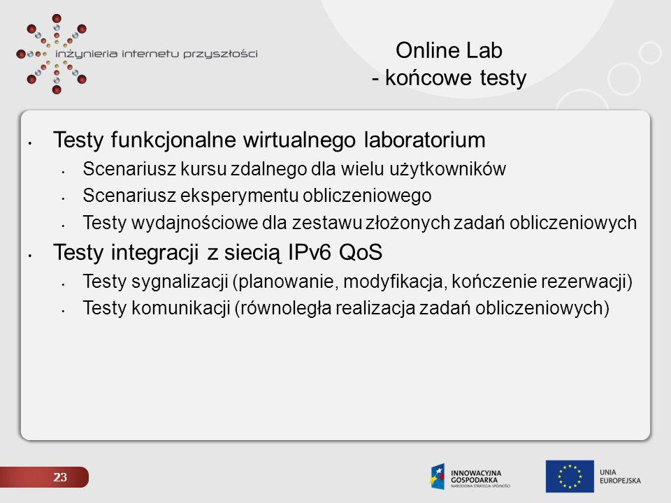 23 Online Lab - końcowe testy Testy funkcjonalne wirtualnego laboratorium Scenariusz kursu zdalnego dla wielu użytkowników Scenariusz eksperymentu obl