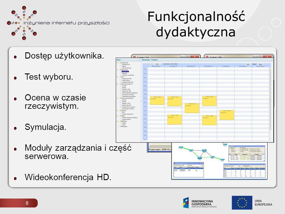 Dostęp użytkownika. Test wyboru. Ocena w czasie rzeczywistym. Symulacja. Moduły zarządzania i część serwerowa. Wideokonferencja HD. Funkcjonalność dyd