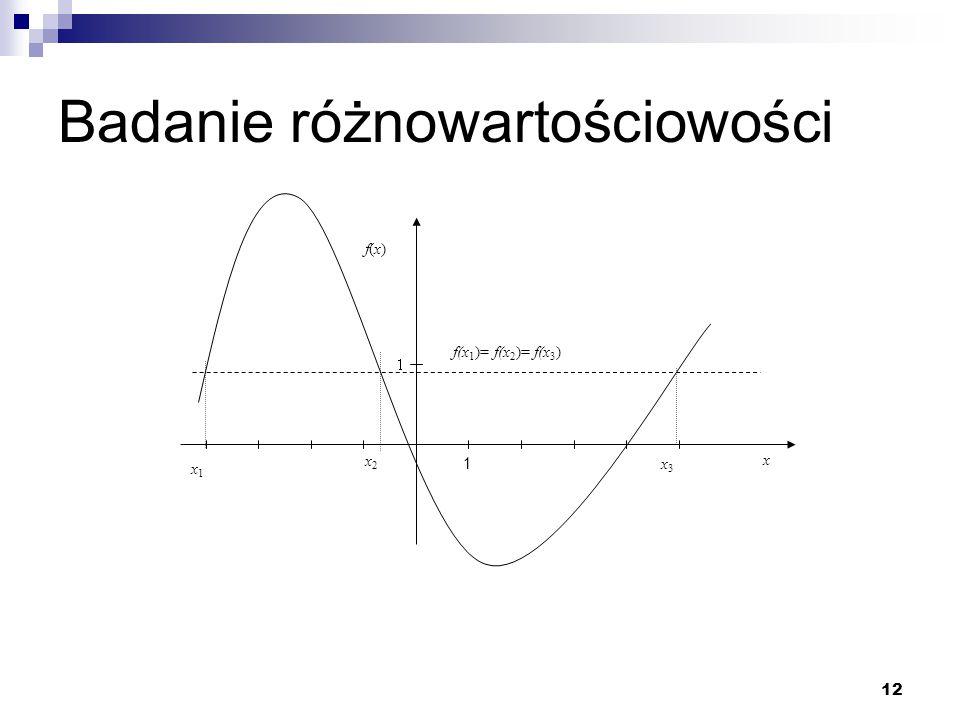 12 Badanie różnowartościowości x f(x)f(x) 1 x1x1 x2x2 x3x3 f(x 1 )= f(x 2 )= f(x 3 )