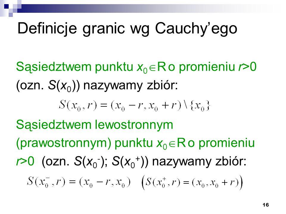 16 Definicje granic wg Cauchy'ego Sąsiedztwem punktu x 0  R o promieniu r>0 (ozn. S(x 0 )) nazywamy zbiór: Sąsiedztwem lewostronnym (prawostronnym) p
