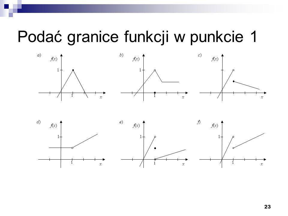 23 Podać granice funkcji w punkcie 1 x f(x)f(x) a)a) x f(x)f(x) b)b) x f(x)f(x) d)d) x f(x)f(x) e)e) x f(x)f(x) f)f) x f(x)f(x) c)c)