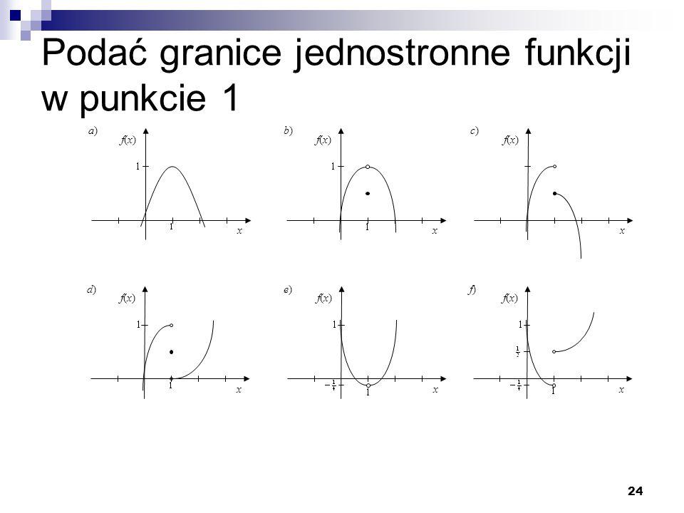 24 Podać granice jednostronne funkcji w punkcie 1 x f(x)f(x) a)a) x f(x)f(x) b)b) x f(x)f(x) c)c) x f(x)f(x) d)d) x f(x)f(x) e)e) x f(x)f(x) f)f)