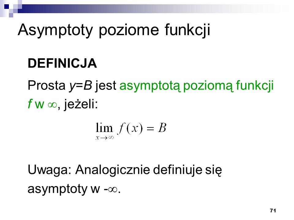 71 Asymptoty poziome funkcji DEFINICJA Prosta y=B jest asymptotą poziomą funkcji f w , jeżeli: Uwaga: Analogicznie definiuje się asymptoty w - .