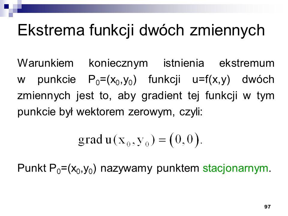 97 Ekstrema funkcji dwóch zmiennych Warunkiem koniecznym istnienia ekstremum w punkcie P 0 =(x 0,y 0 ) funkcji u=f(x,y) dwóch zmiennych jest to, aby g
