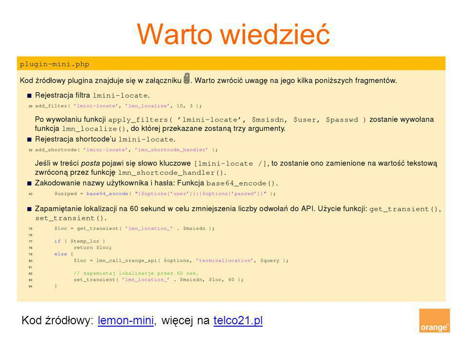 Warto wiedzieć Kod źródłowy: lemon-mini, więcej na telco21.pllemon-minitelco21.pl
