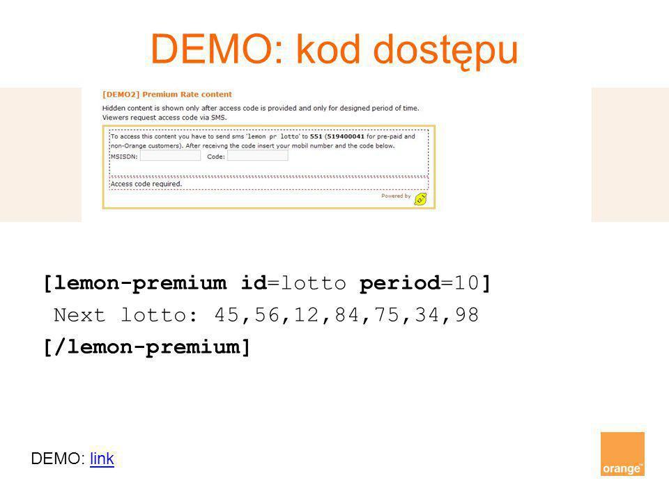 DEMO: kod dostępu [lemon-premium id=lotto period=10] Next lotto: 45,56,12,84,75,34,98 [/lemon-premium] DEMO: linklink